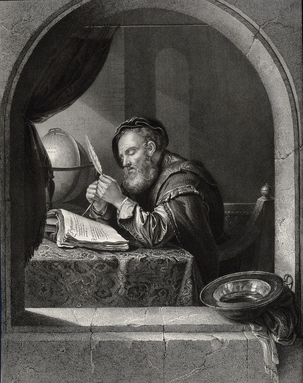 V0024853 A seated man sharpening a quill pen. Engraving by C. Guttenb Credit: Wellcome Library, London. Wellcome Images images@wellcome.ac.uk http://wellcomeimages.org A seated man sharpening a quill pen. Engraving by C. Guttenberg after F. van Mieris. By: Frans van Mierisafter: Carl Gottlieb GuttenbergPublished:  -   Copyrighted work available under Creative Commons Attribution only licence CC BY 4.0 http://creativecommons.org/licenses/by/4.0/