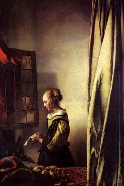 Girl reading a letter at an open window, painted by Johannes Vermeer